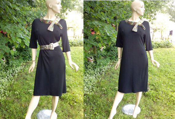 Very Stretchy Plus Size 80s Party Dress in Black with Silver Necktie by gottagovintage1, $52.00