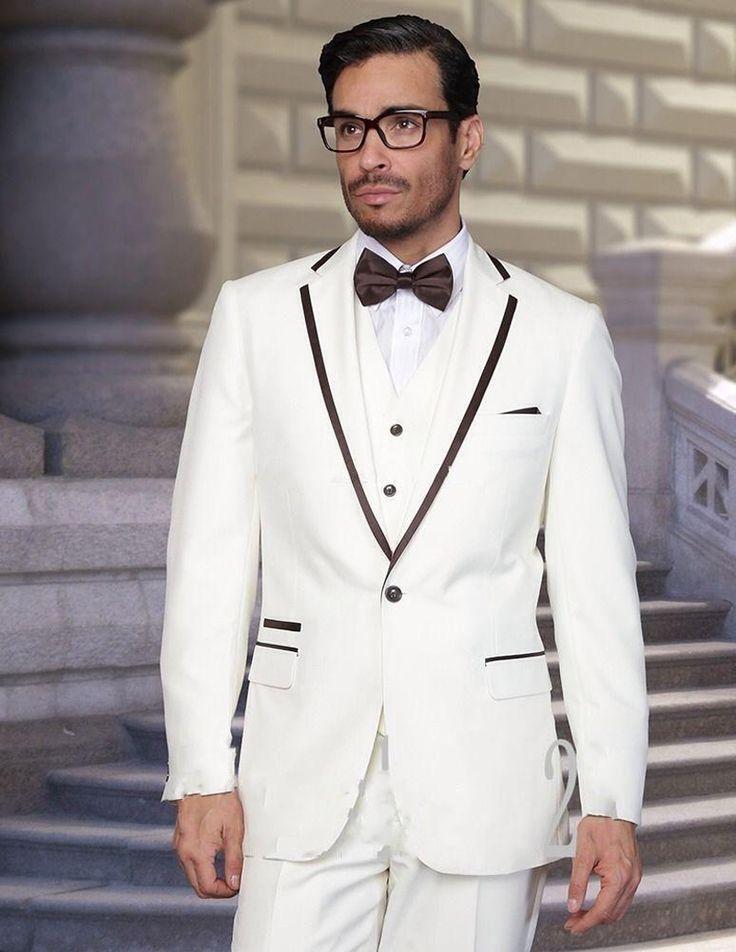 Latest Coat Pant Designs White Trim Formal Custom Wedding Suits For Men Bridegroom Beach Best Man Slim Fit 3 Pieces Masculino K3