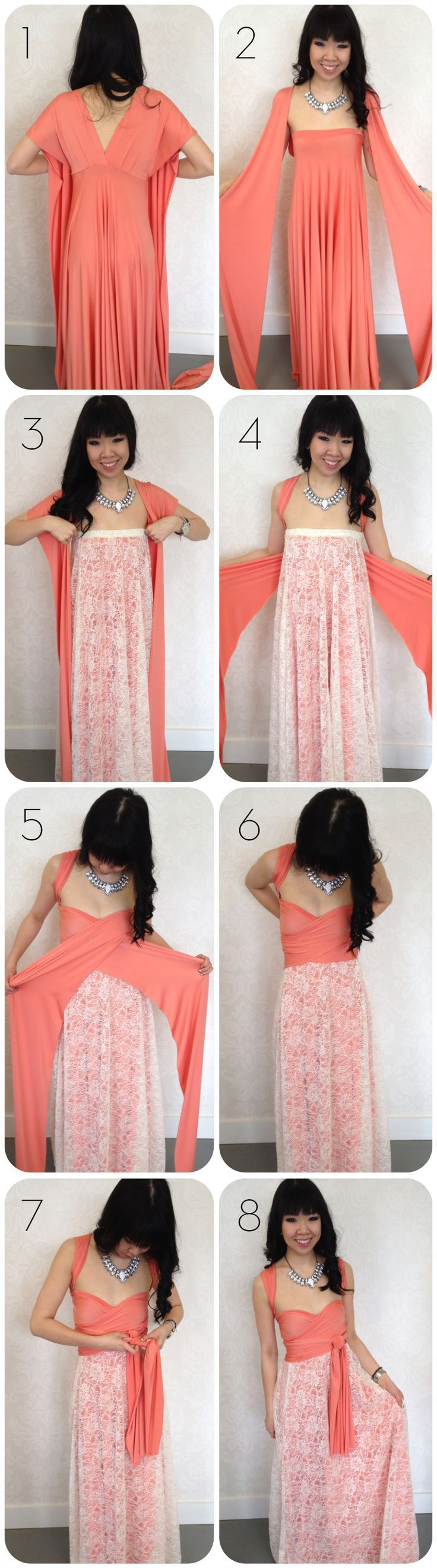 I have included four pictorials on how to use a scarf to create a crop top, vest, skirt or part of a dress. I personally would like to try to create the vest. Which one do you think is the most cre…