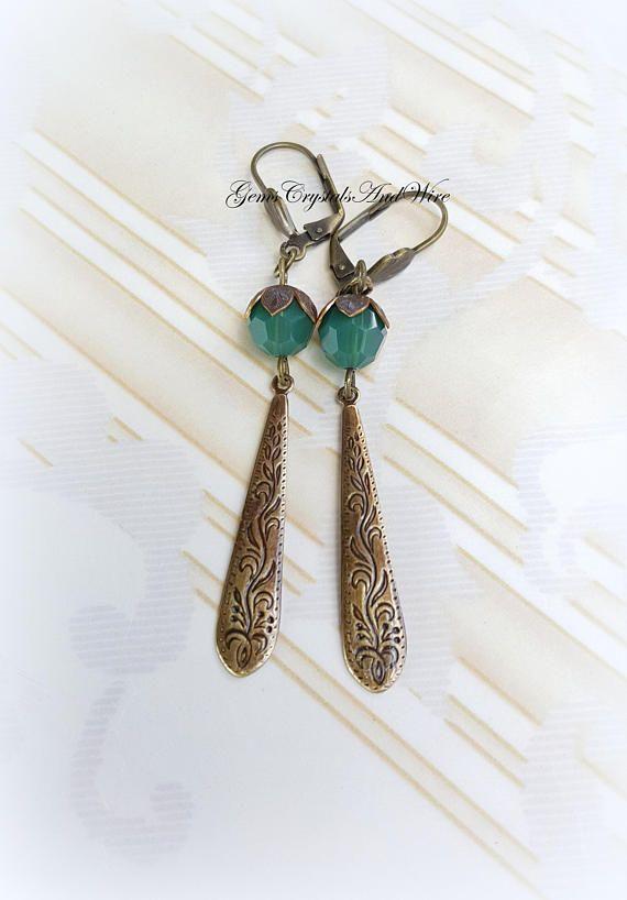 Art Deco Vintage Brass Earrings Scroll Drop Earrings