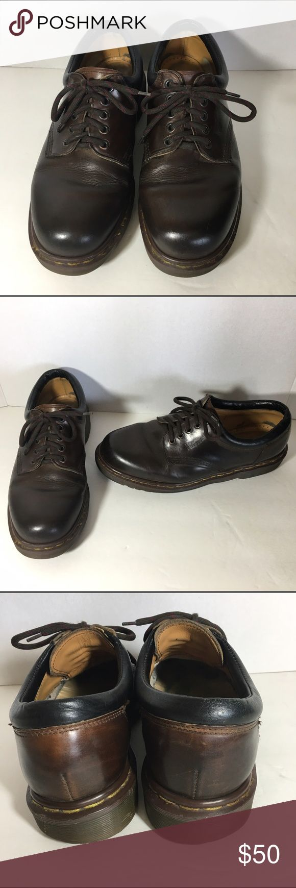 Dr. martens Men's Brown Leather Oxfords Shoes 9 10 Dr. Martens Men's 8053/59 Gaucho Crazy Horse Brown oxfords. The outsides are in good condition.  The insides show wear but no tears.   The sides where The size should be labeled has the lettering rubbed off, but there is a number nine on the inside foot area of the shoe. I believe these are a UK size 9 which is a men's US size 10. They fit my husband like a 10 usually does.  They measure about 12 inches exactly on the bottoms from end to end…