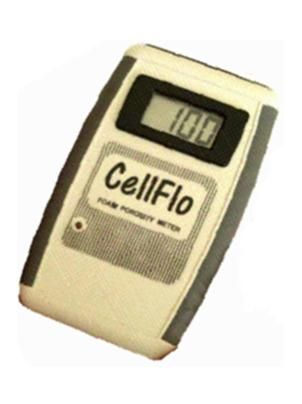 Cellflo Foam Porosity Testers are used for monitoring the porosity of flexible cellular polyurethane to determine the ease with which air passes through a cellular structure.  Airflow values may be used as an indirect measurement of certain cell structure characteristics