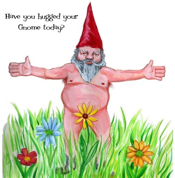 Gnome In Garden: Horny Gnome Greeting Card By GlenIllustrates On Etsy, $3