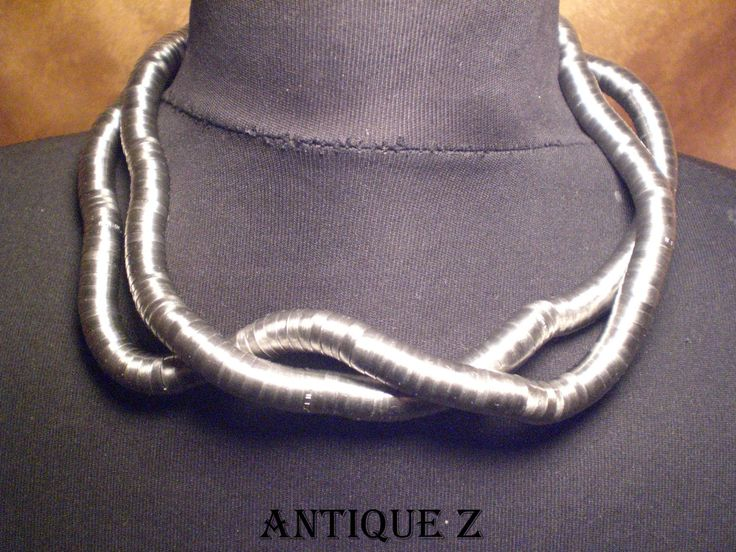 Breil-Milano, Satin Steel Eden Snake reticulated necklace by AntiqueBoutiqueZ on Etsy