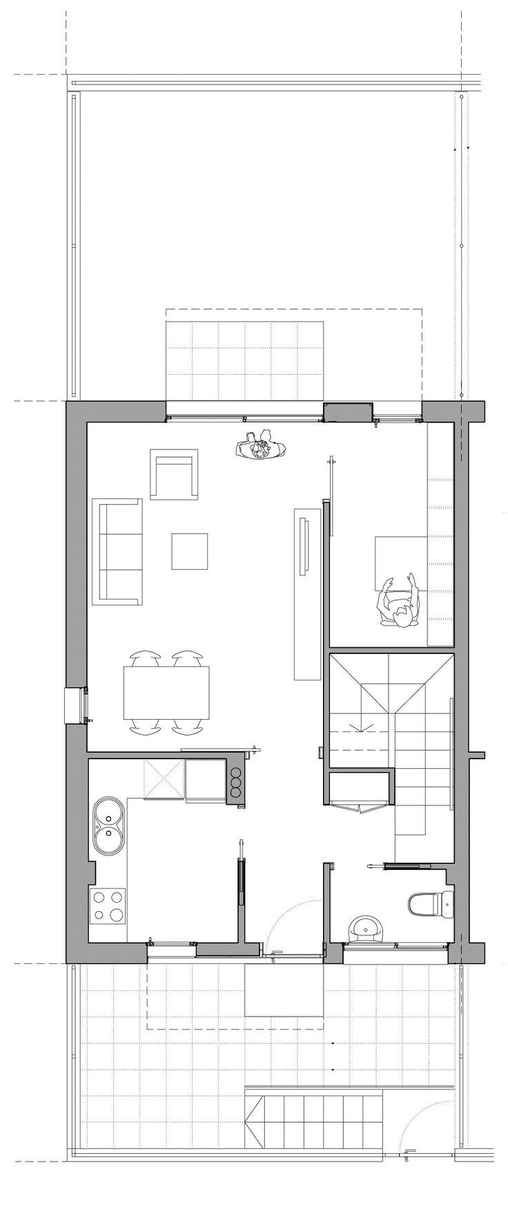 M s de 1000 ideas sobre planos de vivienda estrecha en for Viviendas pequenas planos