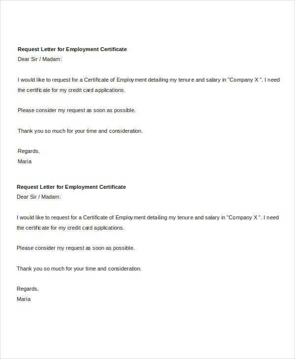 certificate employment request letter pictures pin pinterest - employee certificate sample