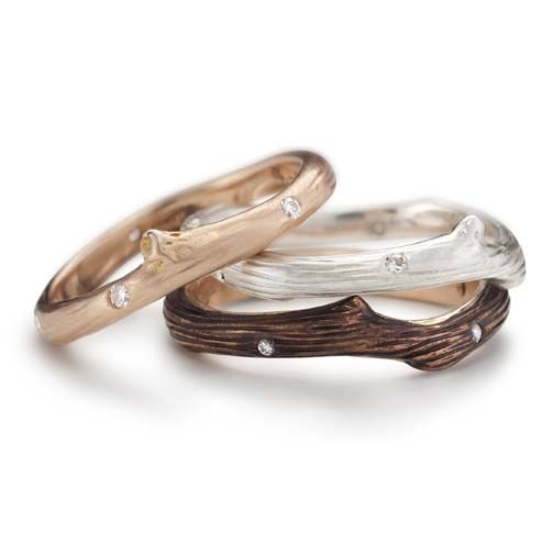 Okomido - Rose Gold Vineyard Stacking Rings with Diamonds