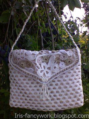 My Fancywork Blog: Белая вязаная крючком сумочка с клапаном в технике...