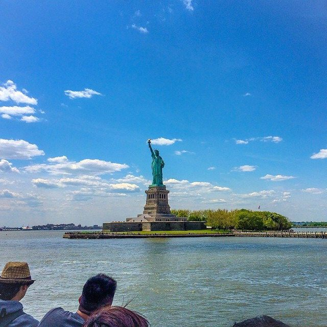 It was look much more glorious than this #shot when I saw it with my very own eyes, For the first time. #throwback #memories #TGIF #landmark #liberty #statue #monument #state #park #island #sky #clouds #manhattan #newyork #NY #USA