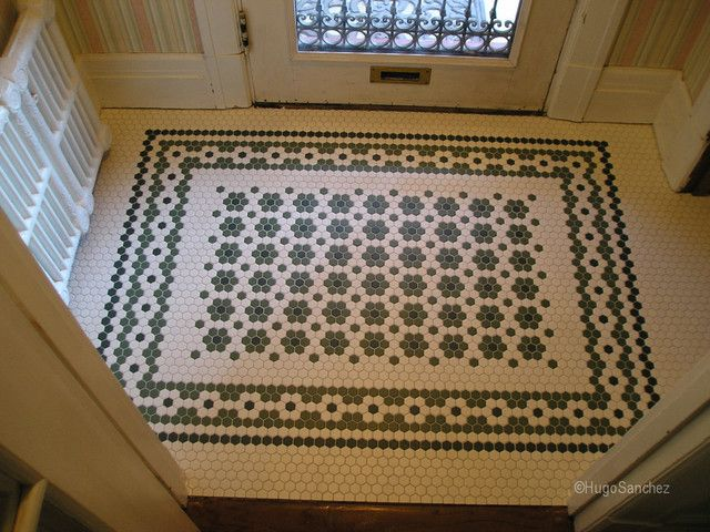 Traditional hex tile patterned entryway, suitable for Victorian house. White, black, sage hex tile. - source: http://www.houzz.com/photos/3878026/Entrance-mosaic-floor-traditional-entry-montreal