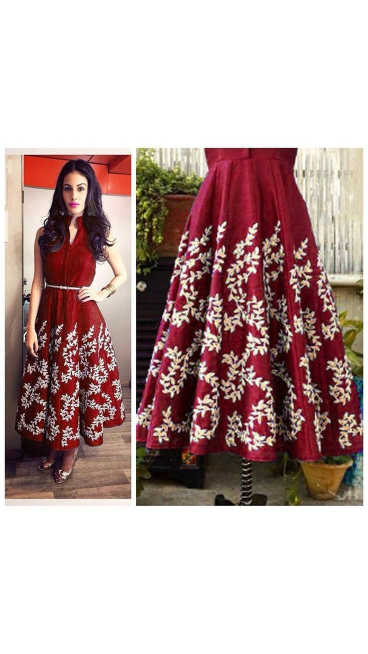 Buy Skyblue Fashion Maroon Color Satin Embroidered Top Gown Online at Low Prices in India - Paytm.com