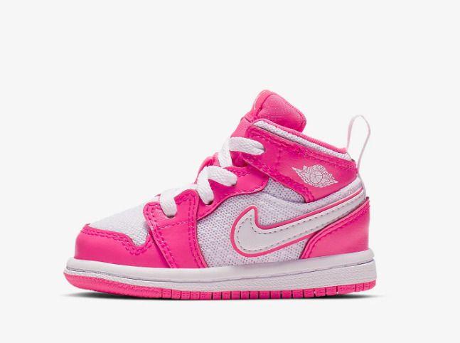 New Baby Air Jordan 1 Mid Toddler Shoes 644507-611 Hyper Pink White-White
