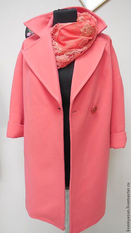 Пальто демисезонное ROSE (Распродажа) - коралловый,однотонный,пальто женское