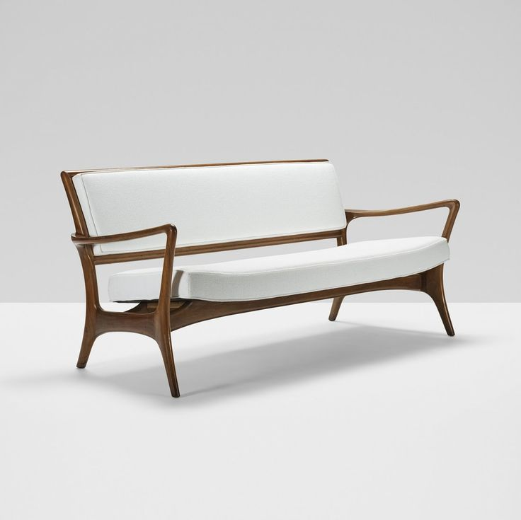 vladimir kagan walnut sofa for c