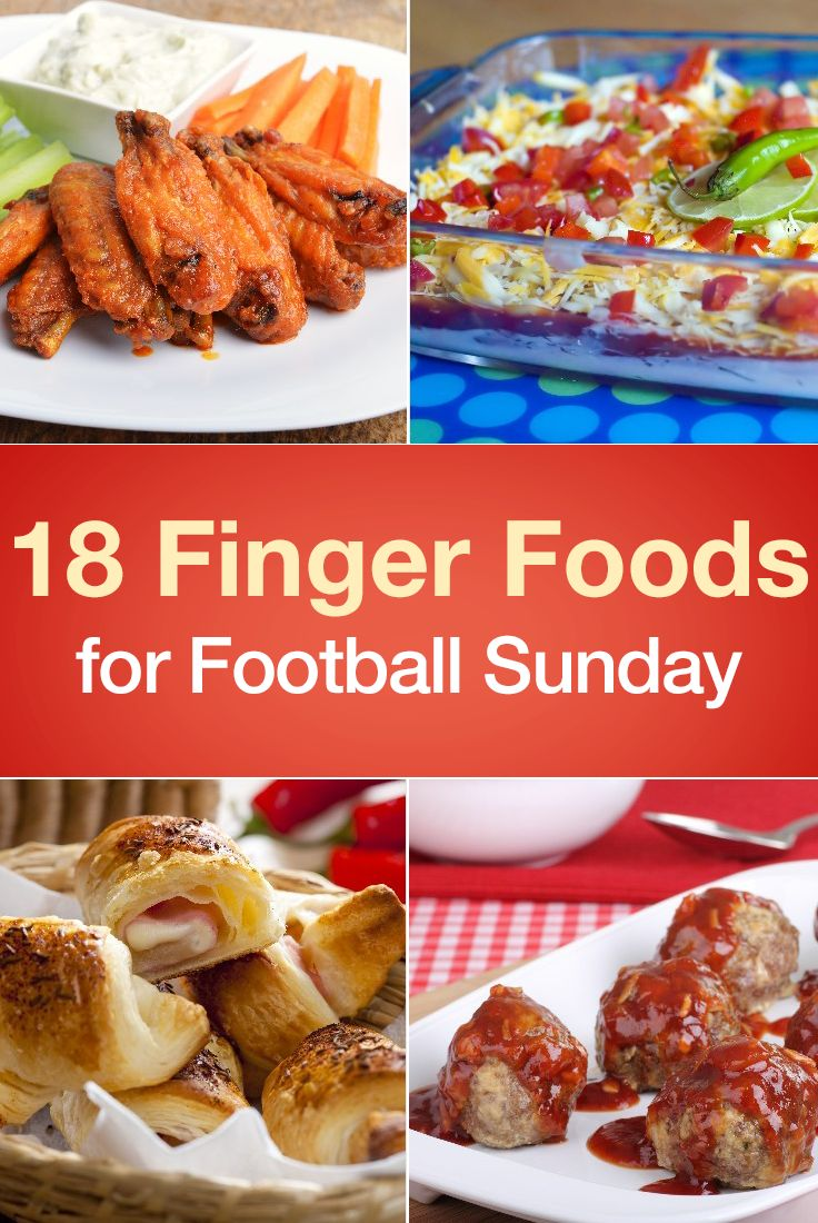 18 Finger Foods for Football Sunday / 18 Finger Food Recipes for Football Sunday including Buffalo Chicken Wings,  Seven Layer Taco Dip, Corn Dog Bites, Potato Skins, Bacon Wrapped Chicken Bites, Egg Rolls, Mini Burgers, Hush Puppies, Pretzels, Spinach Dip, Meatballs, Zucchini Parmesan Crisps, Deviled Eggs, Jalapeno Poppers, and more!
