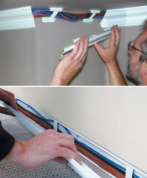 Wiretracks look like crown molding, but hide wires.The real 'secret' of Wiretracks is that the pieces of molding or baseboard can be snapped on or off, making it very easy to run a new cable across the room | TV