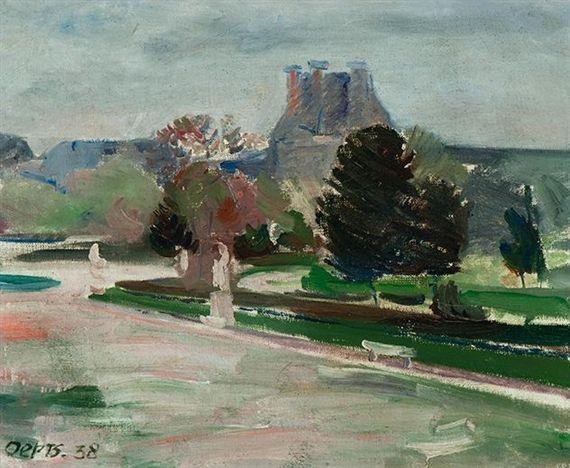 Wim Oepts (Dutch, 1904-1988), View of the Louvre, Paris, 1938. Oil on canvas, 21.7 x 26.8 cm.