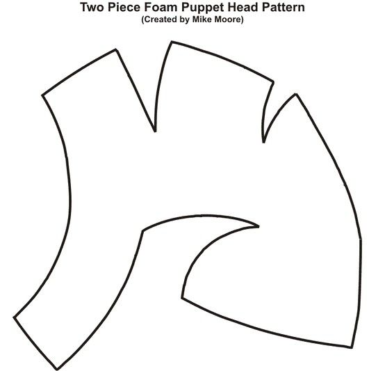 Pattern for two-piece foam puppet head created by Mike Moore