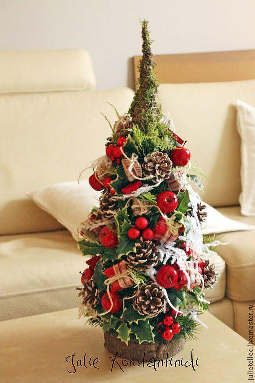 Купить Елочка Лондон - ярко-красный, зеленый, европейская елка, настольная елка, композиция