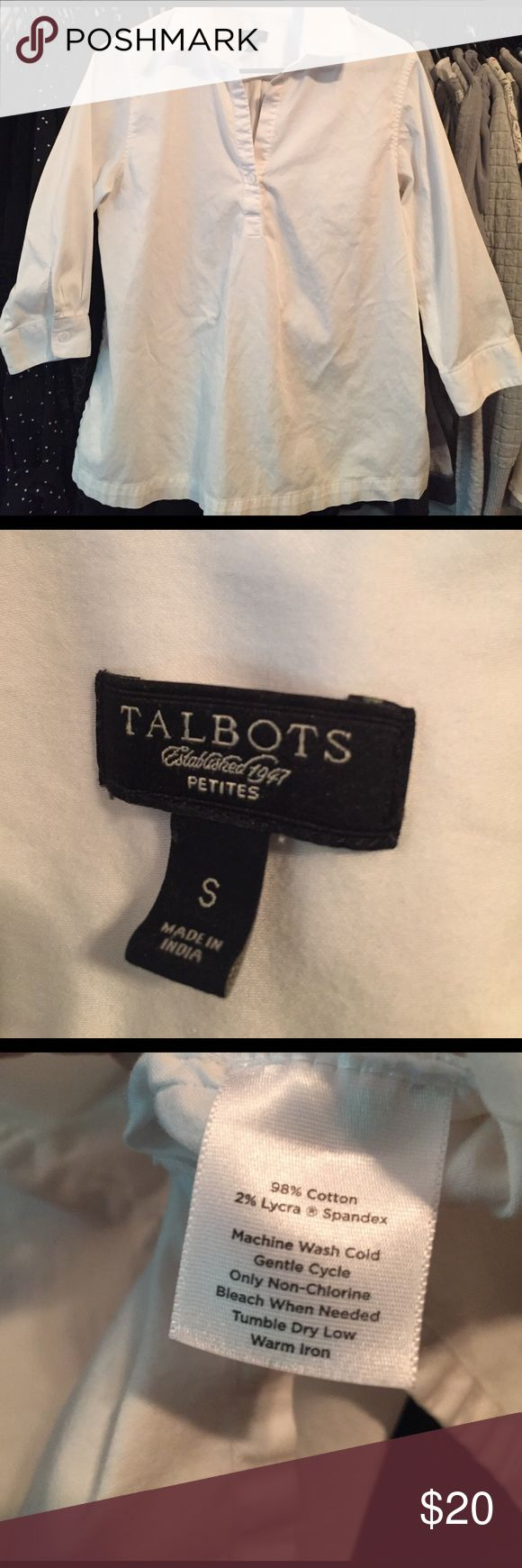 Talbots White Top Cotton Clean spring/summer classic and basic white tunic w/buttons. Gently used & in great condition. A staple in your closet. Size is Small Petite. Sleeves are 3/4 and has two small slits on sides. One button front with collar. A great quality brand. 98% Cotton, 2% Lycra. White Tops in 1st & 2nd picture are not actually the one for sale, pictures posted for outfit idea from blogger website, 2nd one very similar in style. Actual top seen in pictures that follow. Comfy, a…