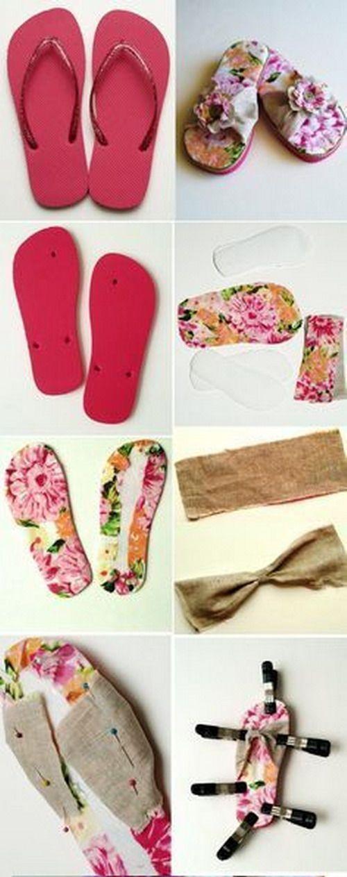 Nadie se imaginará que son unas chanclas de piscina . A mi me sobra la flor y habría usado una tela lisa para la base , pero para gsutos los colores. Os dejo el enlace: http://www.flamingotoes.com/201