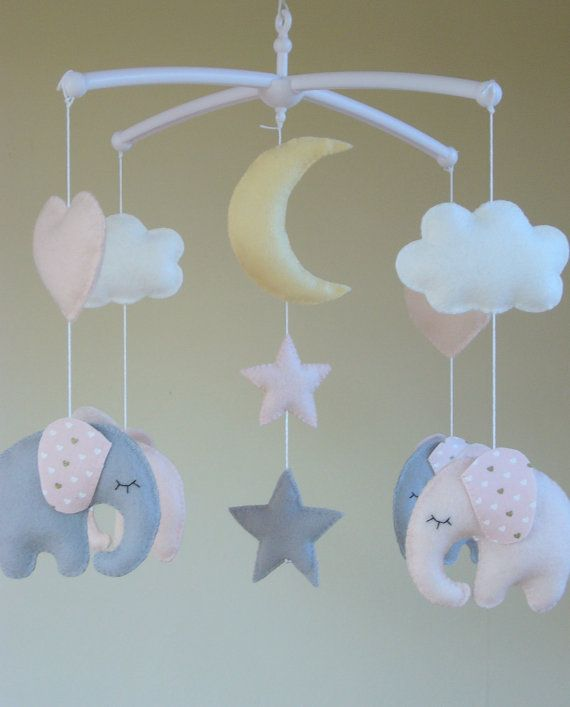 Elephant Baby Mobile  Musical Cot Mobile  Cot arm by ClooneyCrafts