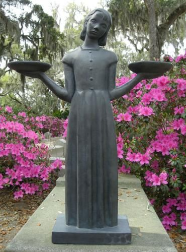 "Savannah GA.  ""Garden of Good and Evil"". The Bird Girl no longer stands in Bonaventure Cemetery, but at the Telfair Museum."