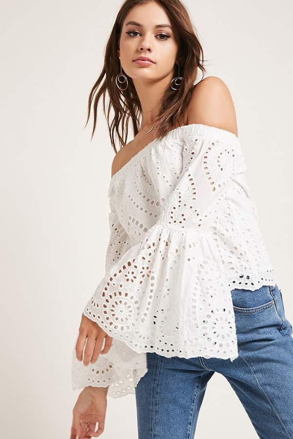 3891ef17b438f4 Forever 21 Eyelet Off-the-Shoulder Top | Beauty Style in 2019 ...