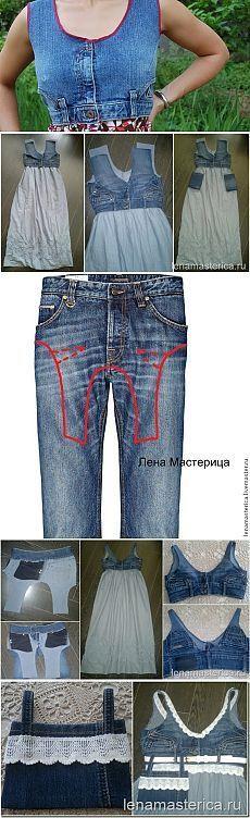 encore une super idée pour récupérer un jean et faire le haut d' une robe A vos aiguilles Et pour d' autres idées: ICI