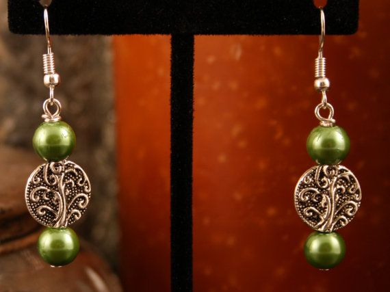 Earrings Tibetan Silver Tree of Life with Olive Green Czech