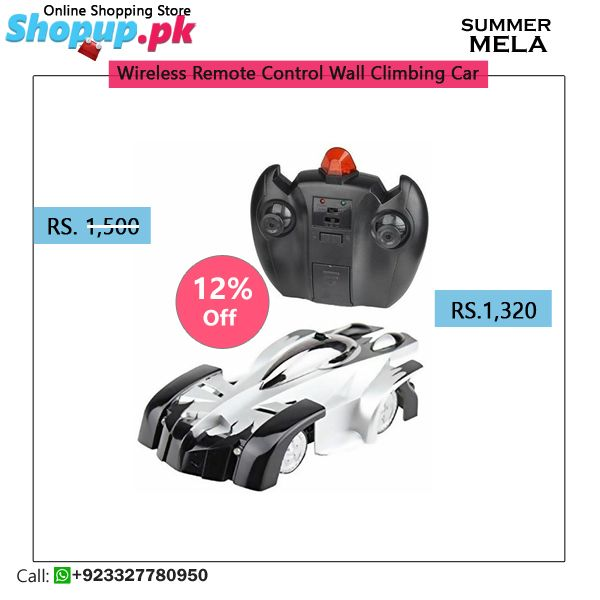 Wireless Remote Control Wall Climbing Car contains Wall Climbing, 4 Channel RC Racing car, Operates on Battery, Easy Usage, Scale 1:18 and Much more.  Features:  Color: Silver- Black Toy Type: Wall Climbing car Function: Driving Battery: 9.6 V RC Remote Control Operates on Battery