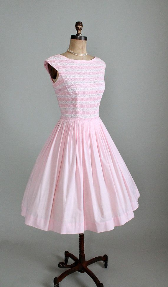 Vintage 1950s Dress  50s 60s Pink Cotton and by RaleighVintage