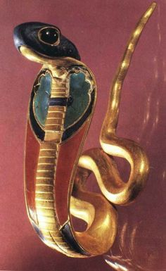 A Uraeus, which is a stylized, upright form of an Egyptian cobra, represents the deity Wadjet, who loved Horus during his infancy. This deity protects the Pharoh.