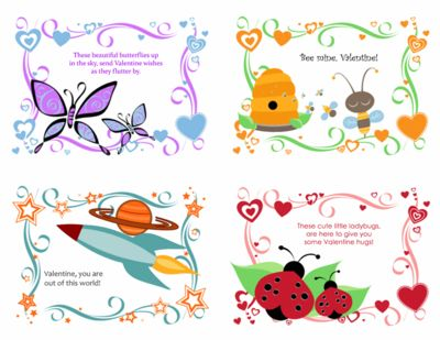 Printable Valentines Cards for Kids Template for PowerPoint 2013
