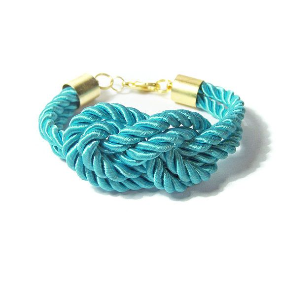 Turqoise Rope Bracelet Sailors Knot Blue by IskraCreations on Etsy, $16.00