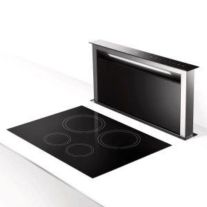 ROBLIN  - 5057000 _ Hotte Plan de travail R LIFT 900 - Largeur 79,4 cm - 4 vitesses + Intensive - Commandes électroniques sensitives - Moteur Energy - Arrêt temporisé - Fonction 24 heures : cette fonction permet d'enlever toutes les odeurs désagréables et persistantes de votre pièce en renouvellant l'air - Filtre métallique - Eclairage LED - Sortie Ø 150 mm - Finition inox et verre noir.
