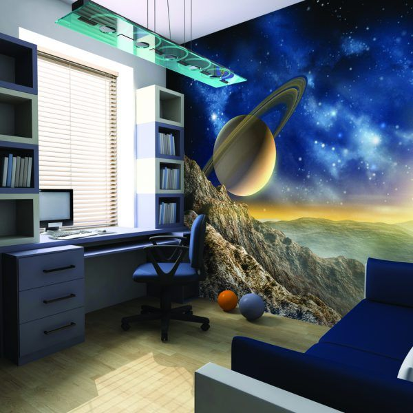 Galaxy Wallpaper Mural feature wall for an outer space themed bedroom for kids This Galaxy wallpaper mural is perfect for any space themed bedroom for kids of all ages.  It is an image of the surface of a planet out in the solar system, with the rugged rocks as the uneven surface and the dark moody solar system as the sky along with stars & gases all adding to the atmosphere.