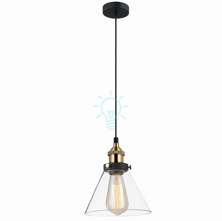 Lampa wisząca Getan pojedyncza w stylu retro bezbarwny szklany klosz, Indeks: MDM-2564/1 - Galeria Oświetlenia