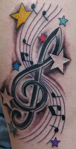 Music symbol and star tattoo for leg