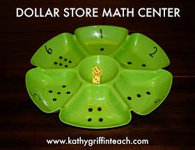 Dollar store math center with foam dice. Can differentiate level up to 3rd grade.