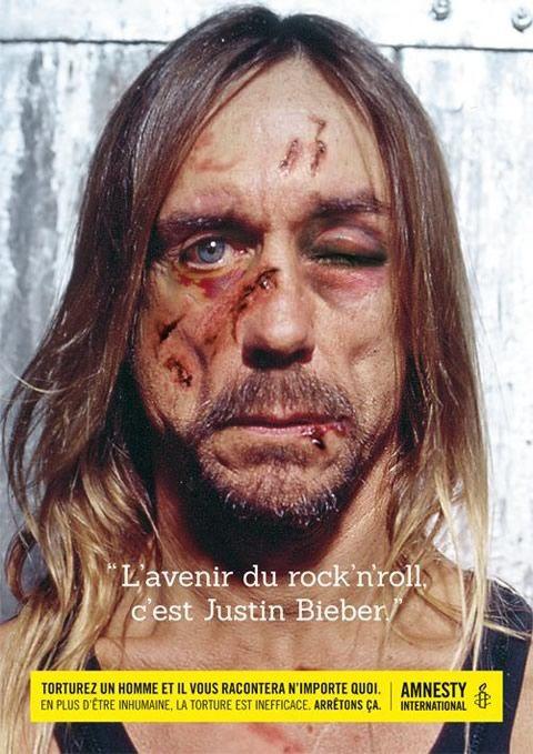 "Campagne Amnesty International ""Stop Torture !"" - Iggy Pop http://www.emerveille.fr/amnesty-stop-torture/"