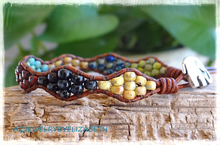 Beaded Wrap Bracelet Seed Bead Leather by AZJEWELRYBYELIZABETH