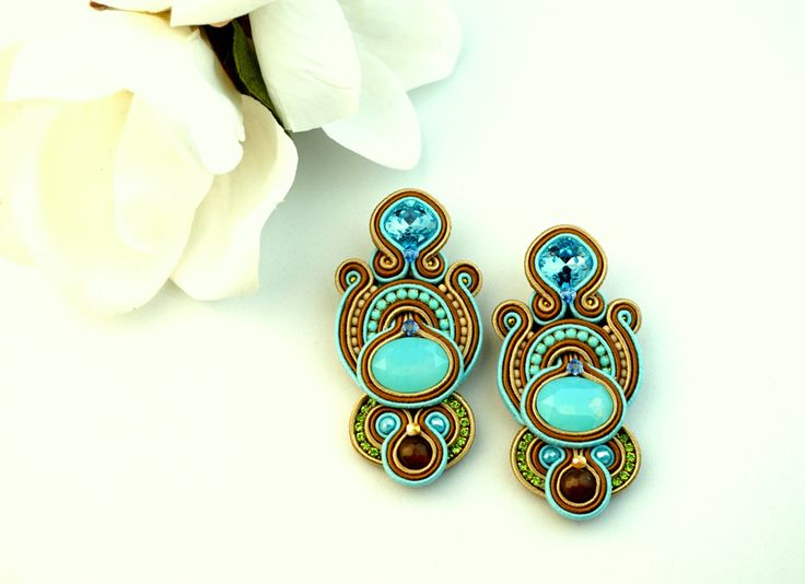 soutache earrings-hand made jewelry-light blue earrings-spring/summer colors-summer collections-gioielli fatti a mano-orecchini in soutache di SelenKhloeJewelry su Etsy