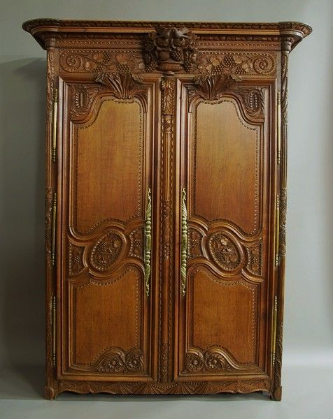 French late 18th century fine quality oak marriage armoire