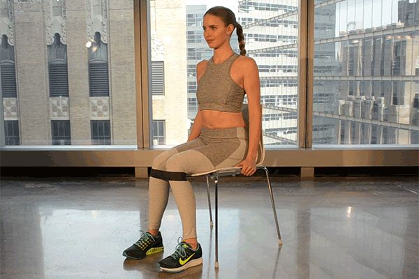 Work your glutes with the Seated Band Push