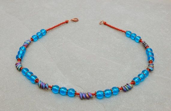 aqua blue and chestnut brown necklace  by bijoubeadslondon