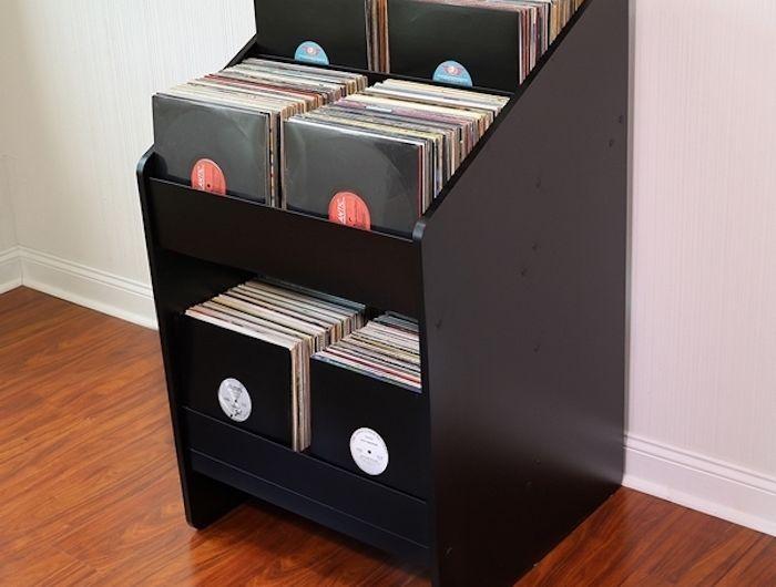 les 25 meilleures id es de la cat gorie meuble vinyle sur pinterest stockage de vinyle. Black Bedroom Furniture Sets. Home Design Ideas
