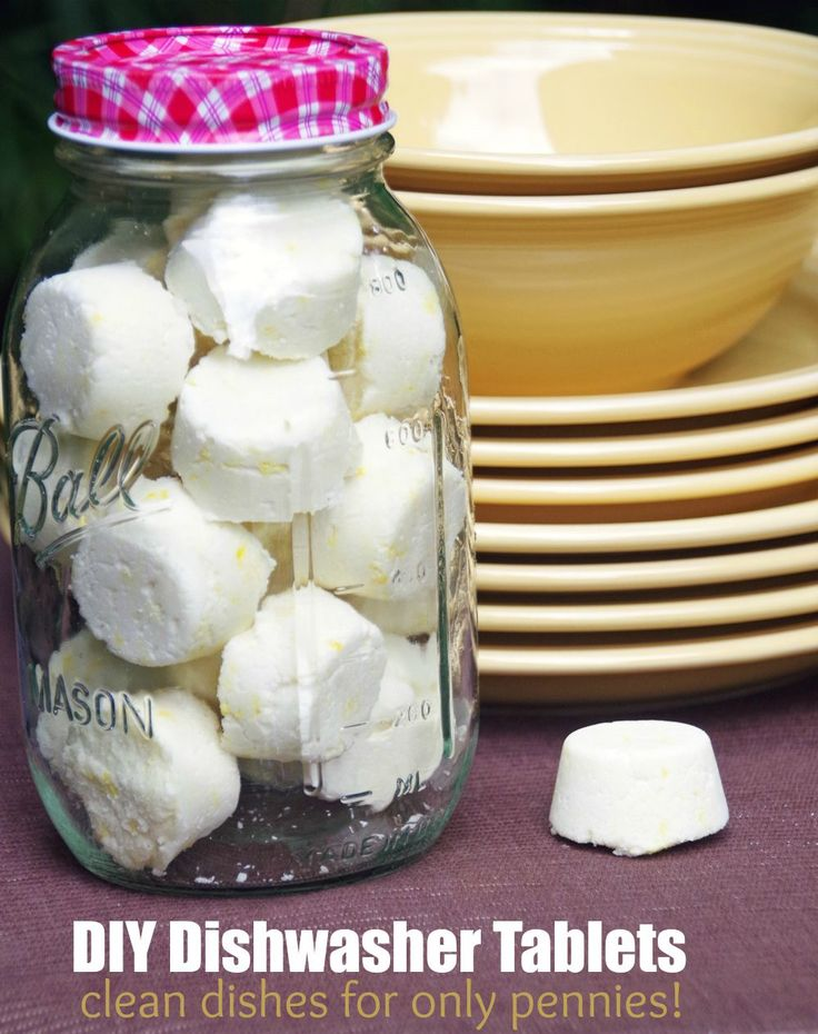 Easy Homemade Dishwasher Tablet DIY.  This easy cleaning recipe costs very little to make per tablet and is a great frugal homemaking idea!
