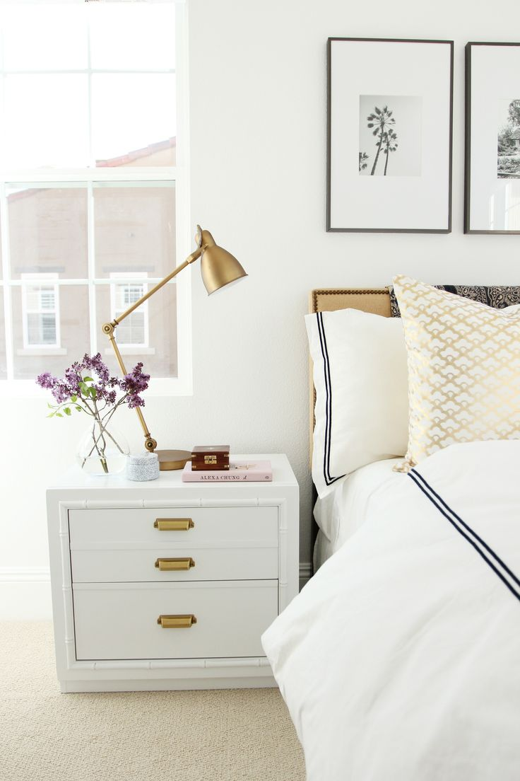 Industrial Task Brass Table Lamp and Nailhead Burlap Upholstered Headboard--image via Studio-McGee