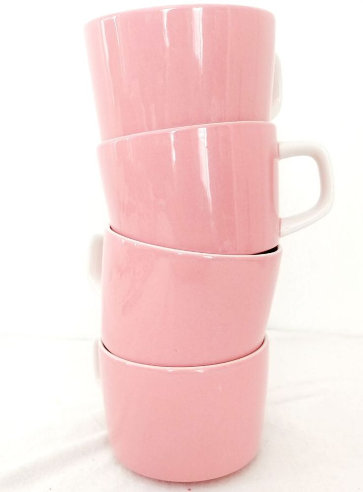 Mikasa Mediterrania Pink Coffee Cups Flat Made in Japan Set of 4